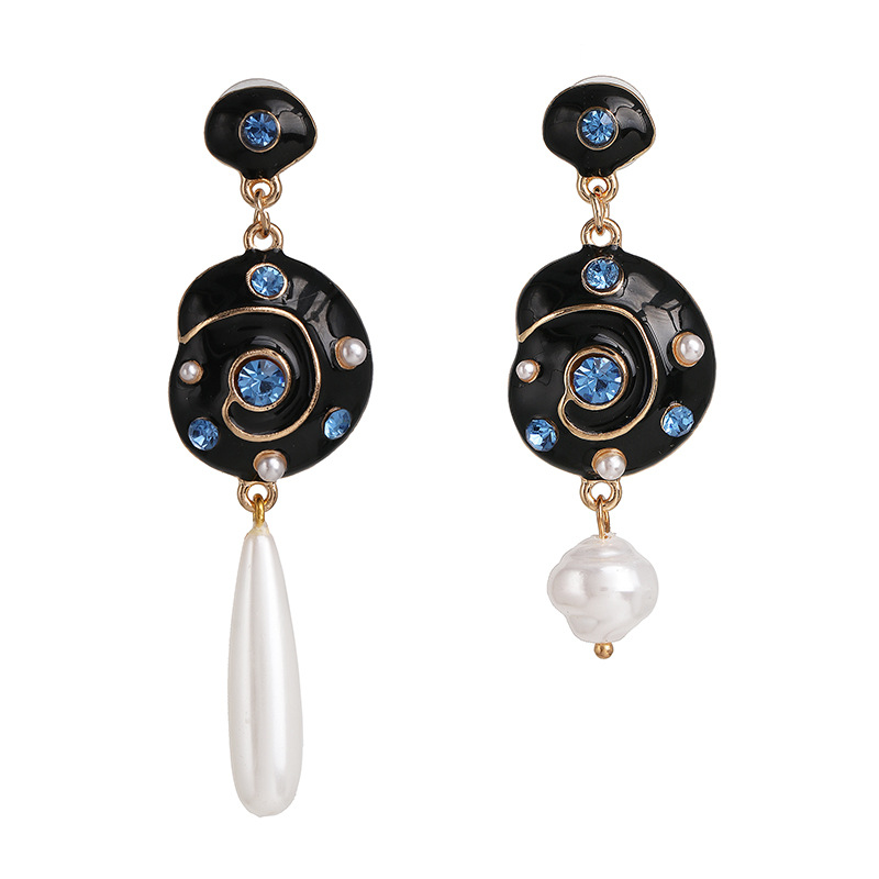 Explosion-shaped diamond earrings natural pearl asymmetric earrings big earrings earrings NHJJ198759