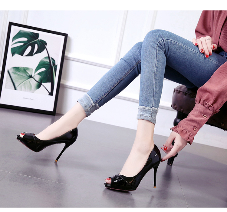 Spring and summer new fish mouth single shoes shallow mouth thin heel women's shoes high heel sexy professional work shoes NHSO200270
