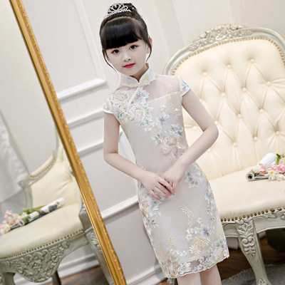Cheongsam for kids Girl Chinese Dress cheongsam elementary school girl children Chinese Dress cheongsam thin Princess cheongsam skirt