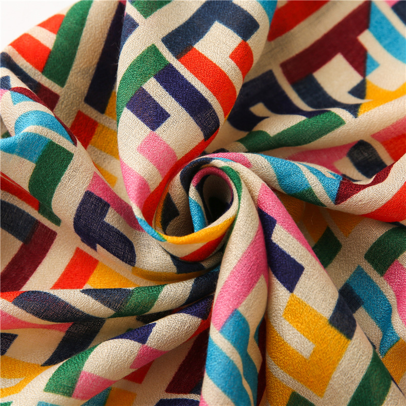 Korean colorful matching letters autumn and winter cotton and linen silk scarf long shawl  NHGD270011