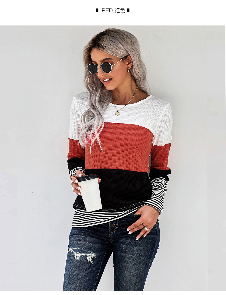 striped women's autumn and winter new fashion round neck long sleeve pullover sweater  NSSI2357