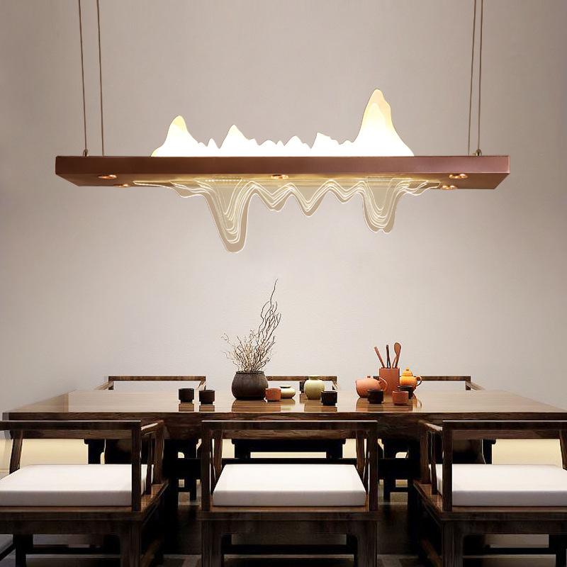 新中式样板房山水茶室吊灯中国风展厅民宿长方形客餐厅桌前台灯具