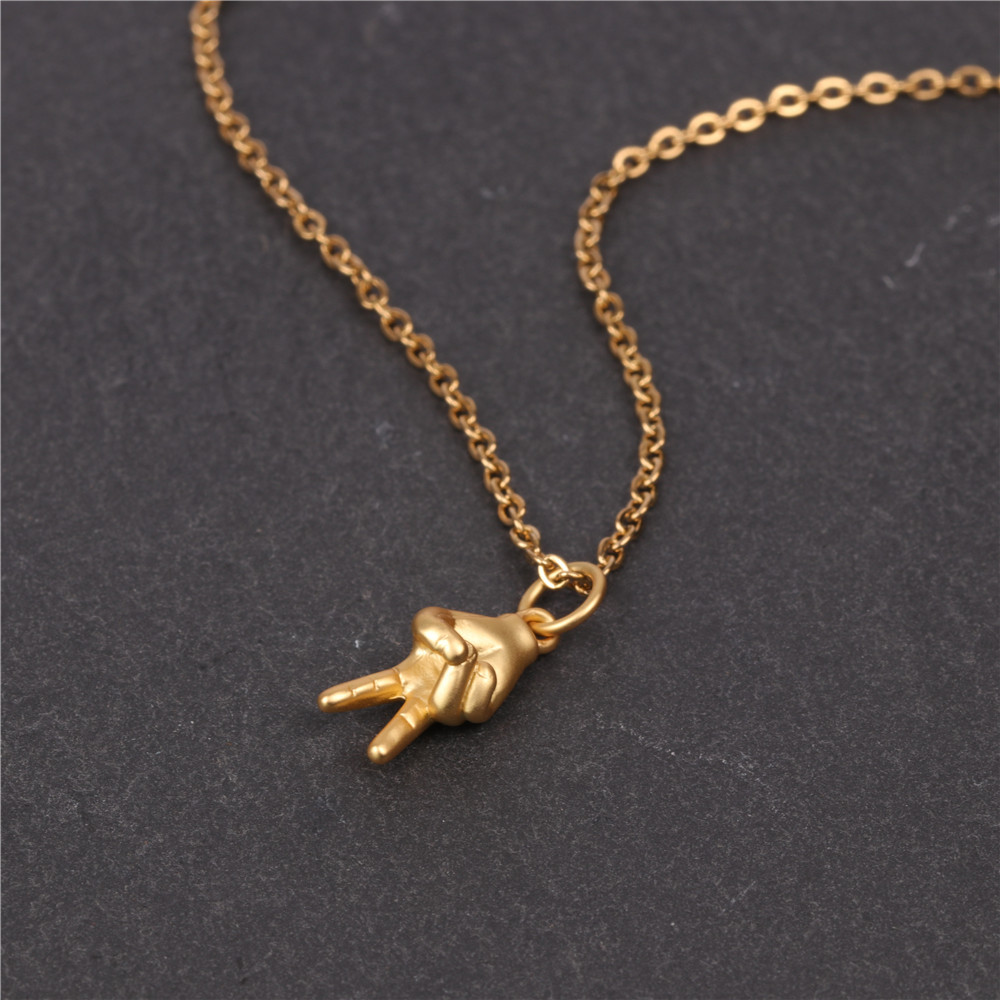 Fashion Gesture Pendant Necklace Fashion Hip Hop Style Stainless Steel Short Necklace NHPY198220