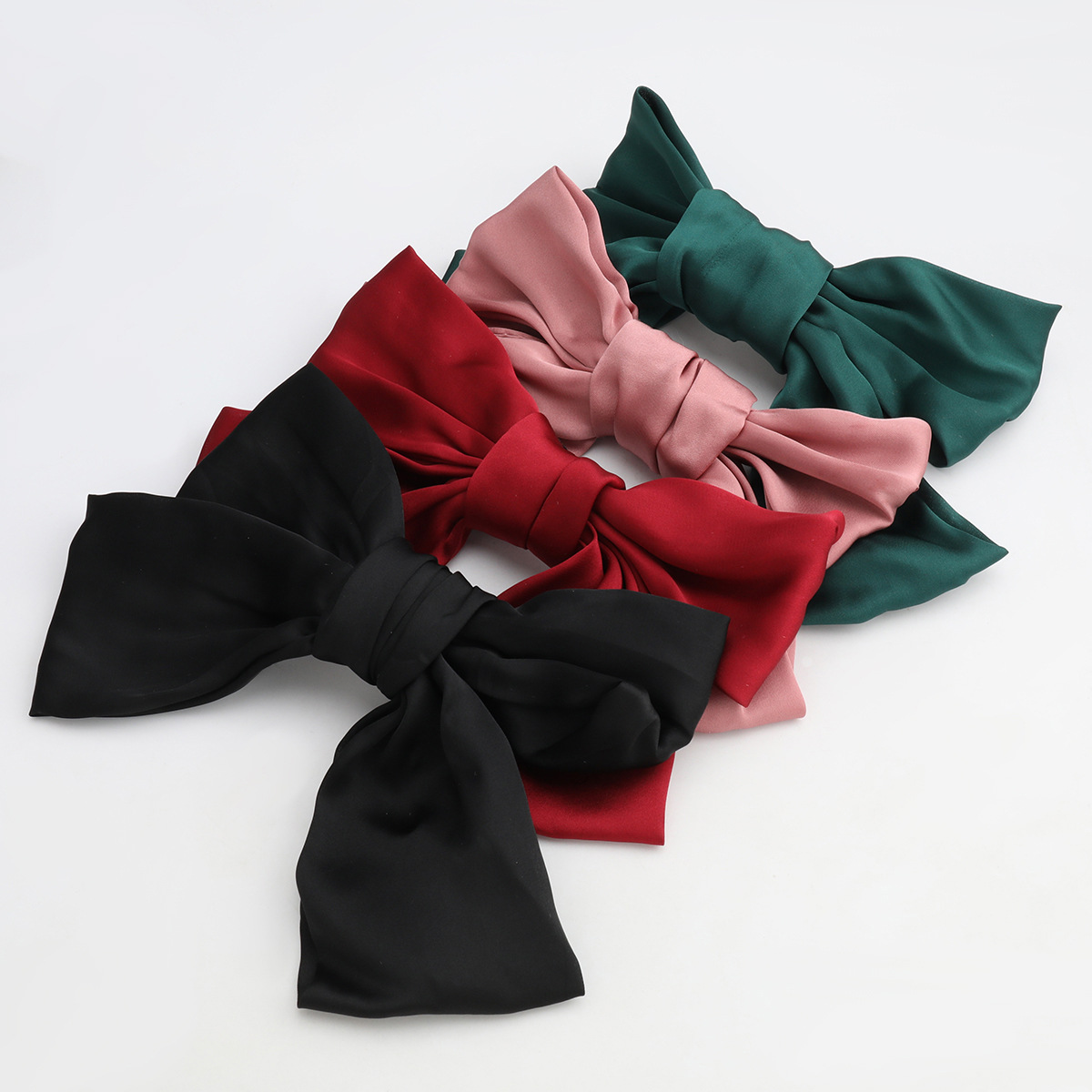 Hot selling fashion ribbon big bow hairpin girl hair accessories spring clip NHJE260570