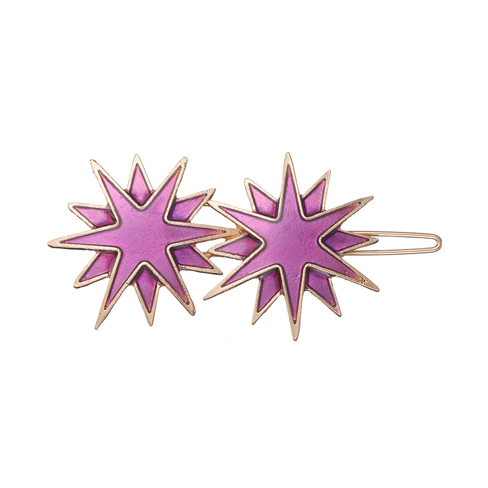 hot-selling new alloy dripping side clip candy color eight-pointed star hair clip NHOA263944