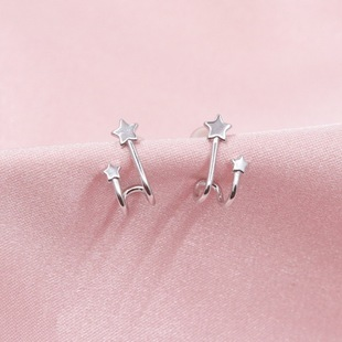 【Pauline】Factory Outlet Whole Body 925 Sterling Silver Simple Five-pointed Star Stud Earrings E4550