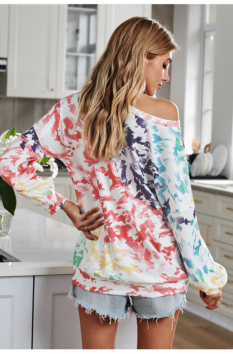tie-dye new loose long-sleeved pullover round neck ladies sweater NSSI2416