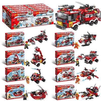 货源跨境兼容乐高拼装积木8合1城市消防队DIY小颗粒儿童益智玩具赠品批发