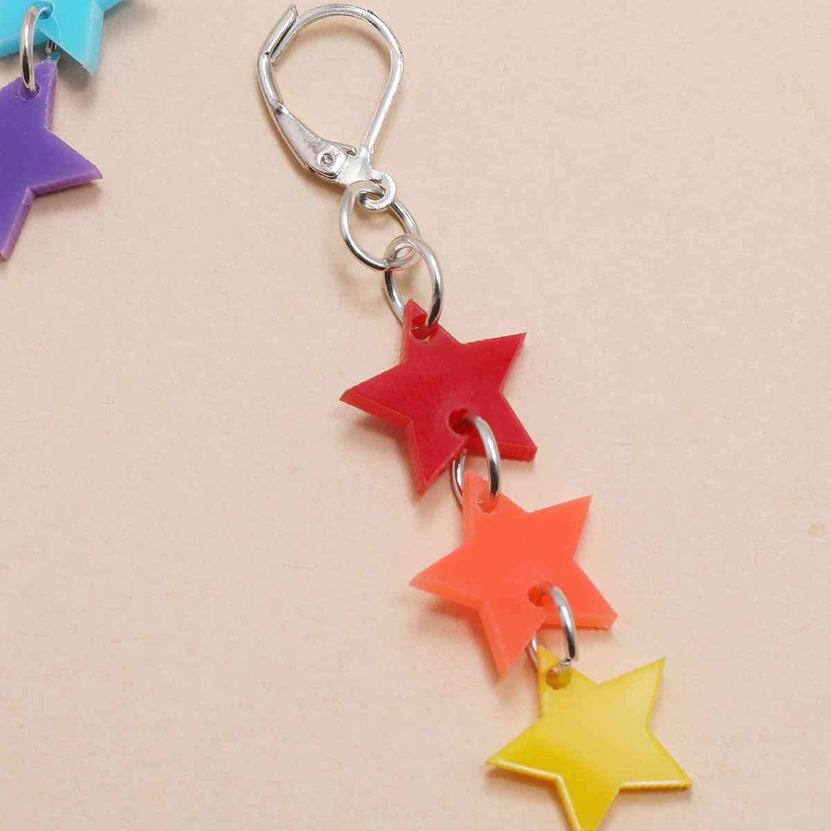 new style keychain hanging ring red orange yellow green blue purple acrylic tassel star five-pointed star earrings  NHPV243699