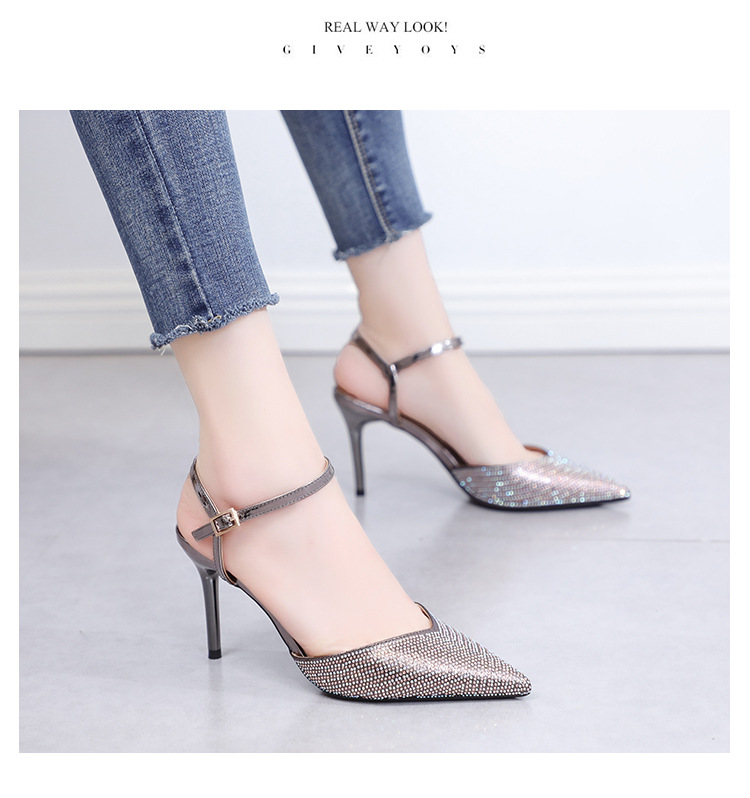Summer Korean new style rhinestone pointed high-heeled shoes with stiletto sandals women's shoes NHSO200258
