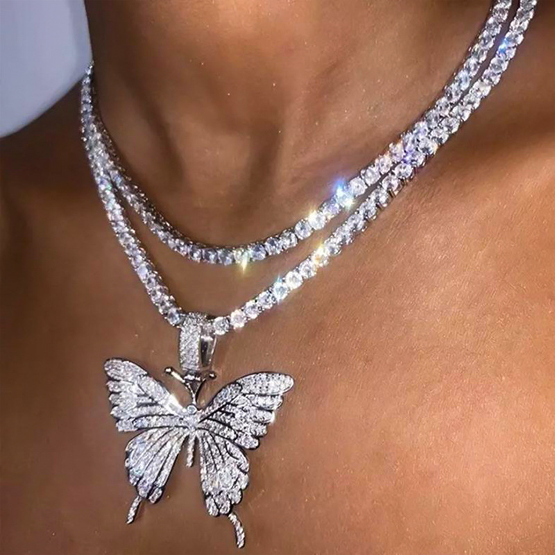 Fashion  rhinestone butterfly pendant necklace hip hop jewelry  choker NHDP240769