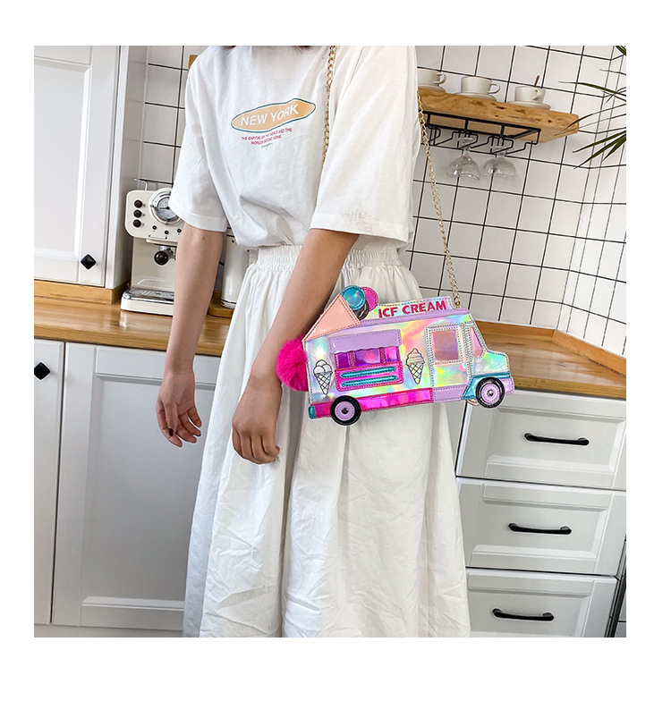 new  fashion creative ice cream car messenger bag funny personality colorful laser bag nihaojewelry wholesale NHHX218849