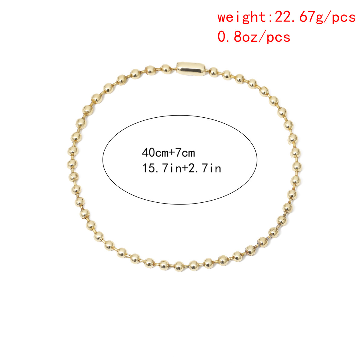 New fashion simple single-layer design twist chain item decorated wild round beads handmade metal necklace women NHXR204538