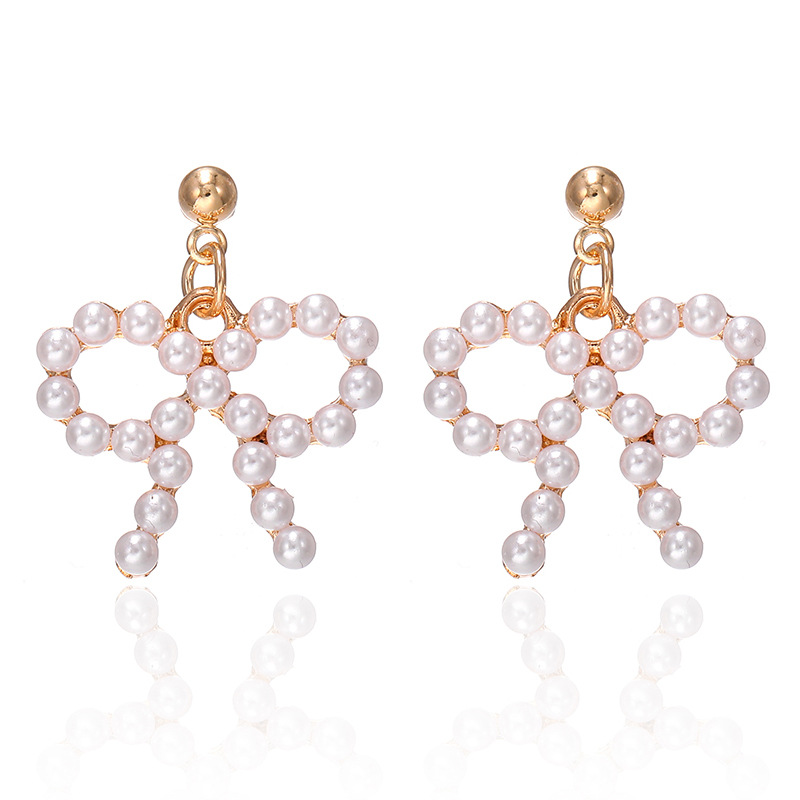 Korean pearl bow earrings cute sweet simple fashion jewelry wholesale NHPF203019