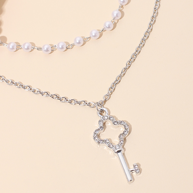 Double-layer pearl key women's clavicle chain necklace set NHRN250945