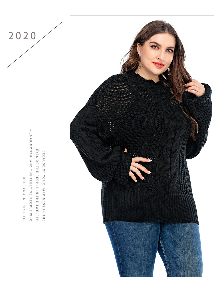 large size women's loose pullover solid color long-sleeved knitted sweater  NSYH7147