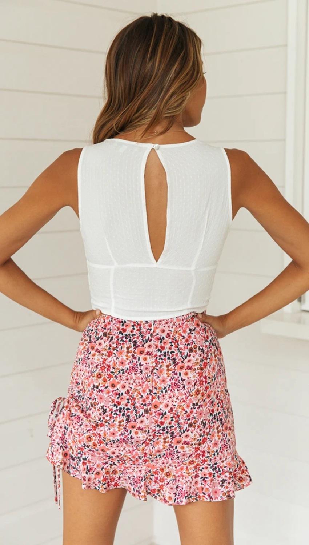 new summer cotton jacquard lace stitching drawstring straps Slim deep V top NSYD3882