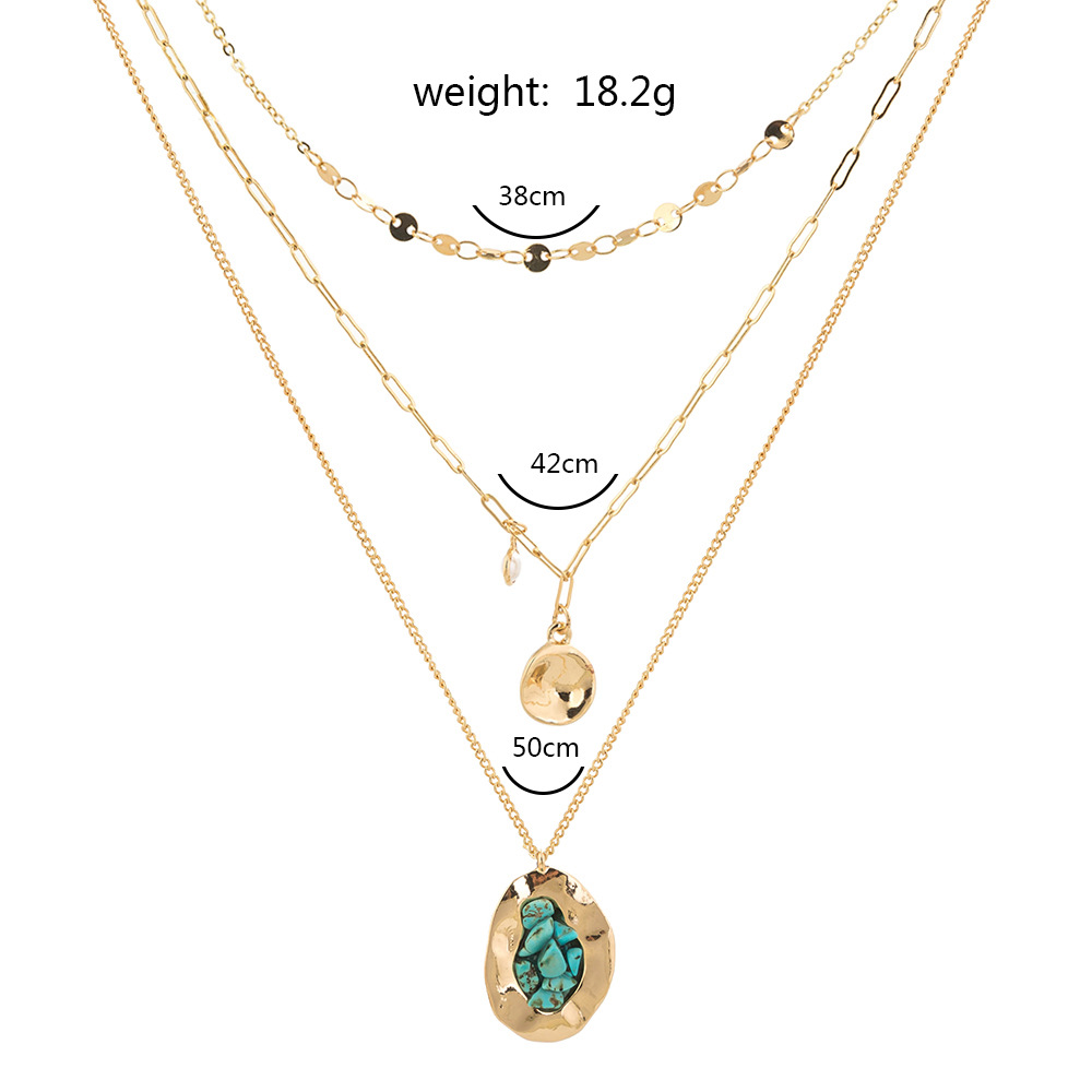 retro geometric turquoise pendent alloy multilayer necklace NHAN347143