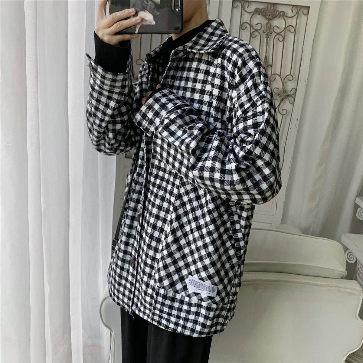 新款韩版加厚宽松呢子衬衣男原宿风bf学生复古格子衬衫毛呢外套男