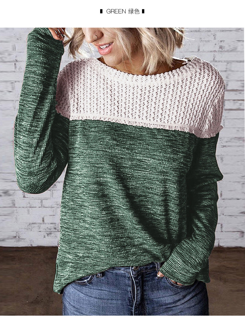 women winter new stitching round neck loose sweater  NSSI2401