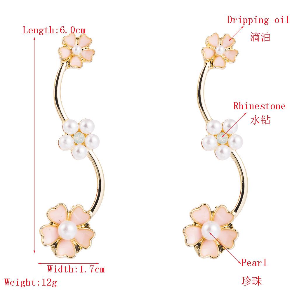 Fashion earrings new alloy studded pearl earrings high-end wild flowers NHLN199010