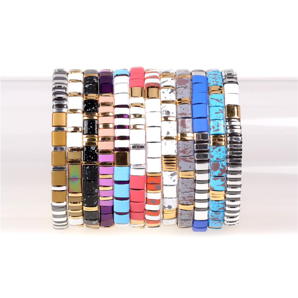 New Fashion Beaded Personality Bracelet Mix and Match Contrast Woven Stretch Bracelet NHPY199143