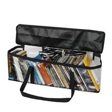 跨境透明大容量CD袋收纳袋 可移动书架图书手提袋拎袋 一件代发