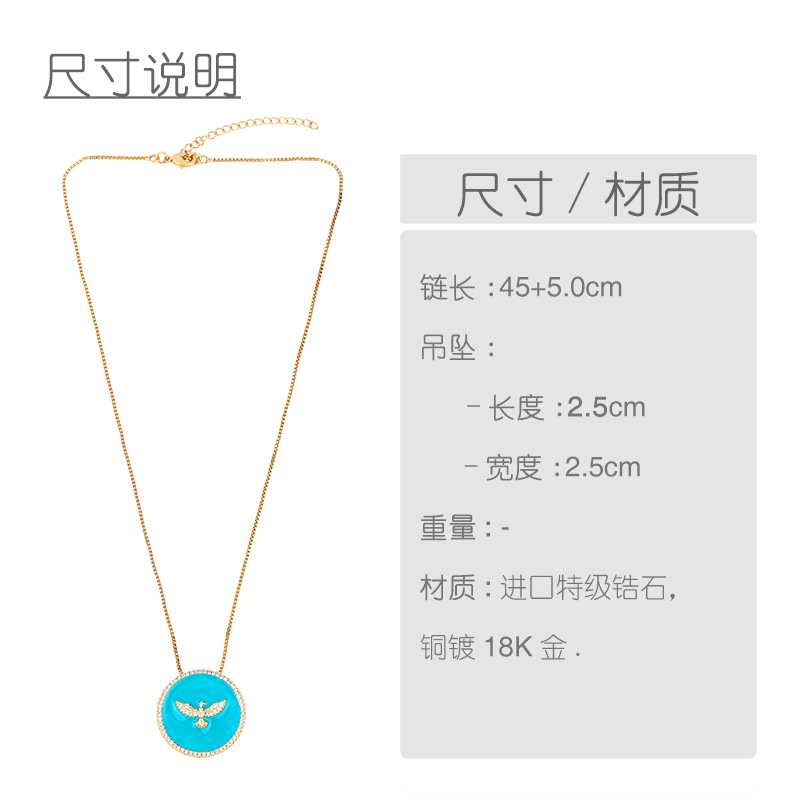 Fashion cheap jewelry simple geometric drip oil round pendant pigeon pendant diamond necklace NHAS202593