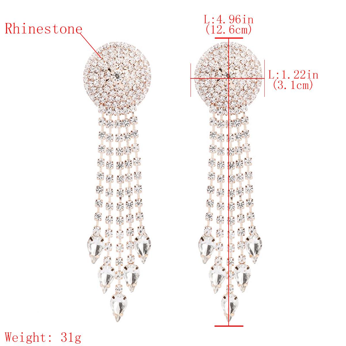 Convex alloy long rhinestone earrings with rhinestones NHJE195323