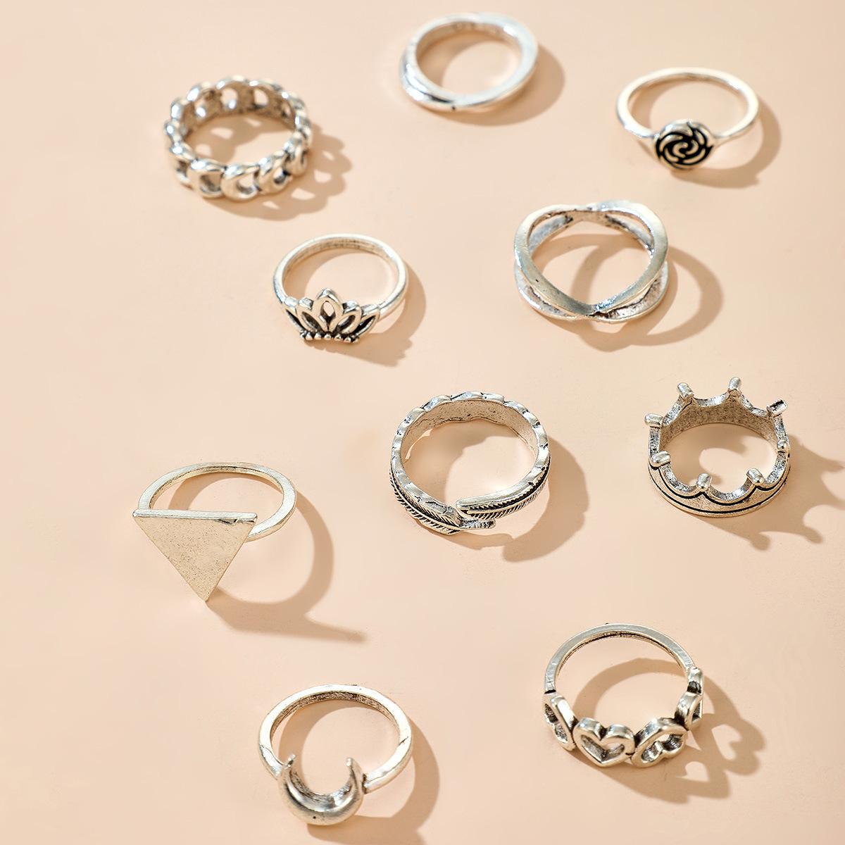 Geometric alloy ring ring set popular flower crown leaf cross triangle love ring set NHGY213889