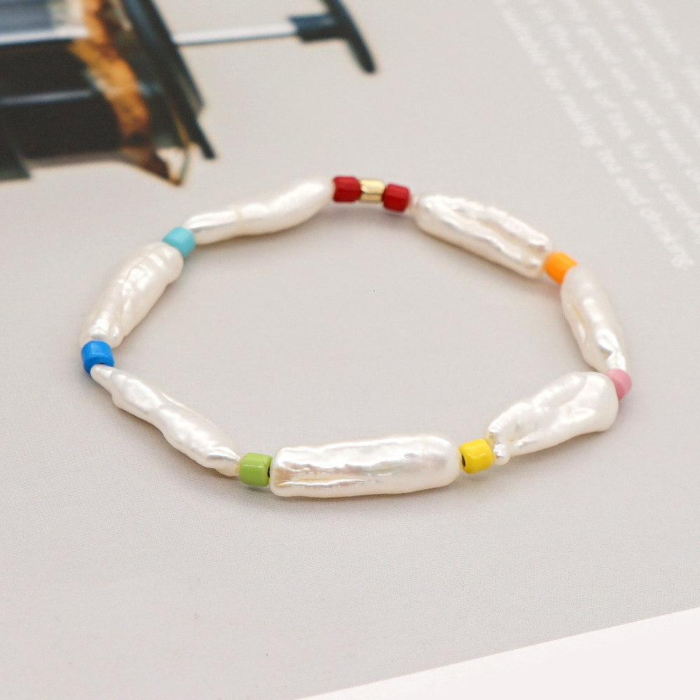 Simple Crystal Bracelet Baroque Natural Freshwater Pearl Ethnic Style Handmade Jewelry wholesale nihaojewelry NHGW228698