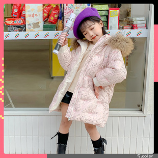 Xuanxiang new children's down jacket for autumn and winter, long warm, small and medium-sized girls' clothing, mesh embroidery, thicker collar
