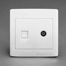 明装墙壁开关插座面板有线闭路网络网线宽带电视电脑插座孔明线盒