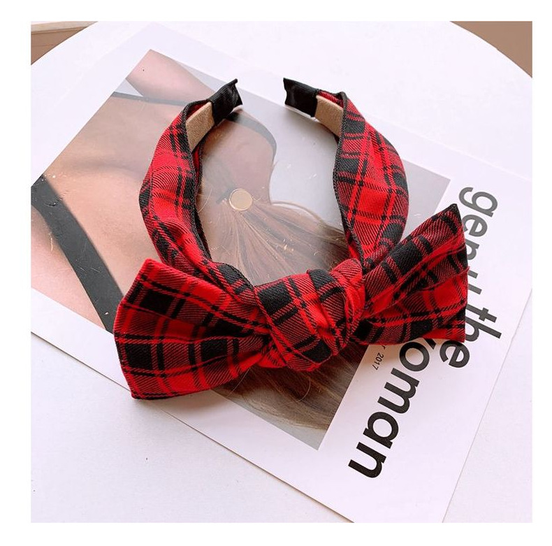 Vintage British plaid wide-edged big bow hair hoop jewelry card NHHD204480