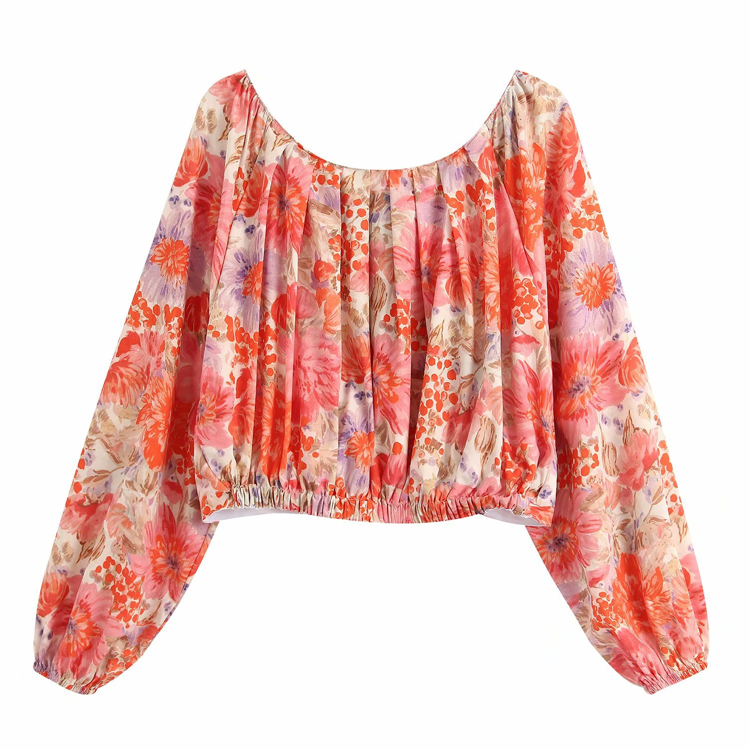 Fashion Wholesale Spring Flowers Printed Blouse NHAM201615