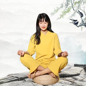 Women Cotton and linen yoga clothes Tai Chi suit Zen meditation tea ceremony clothes Two-piece leisure ethnic style