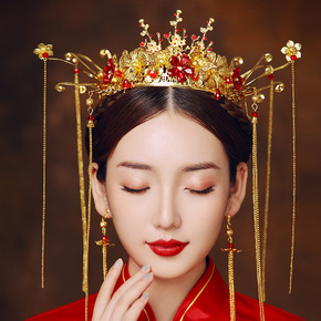 Ancient costume Chinese bridal hair accessories Xiuhe clothing Phoenix crown headdress wedding tassel wedding antique hair crown women