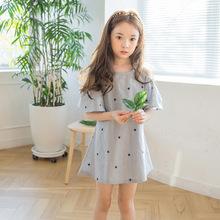 2020新款女童夏季連衣裙韓版星星條紋漏肩裙子女孩兒童裝一件代發
