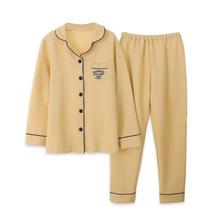棉紗睡衣女秋冬季保暖純棉空氣棉三層夾棉加厚純色長袖家居服套裝