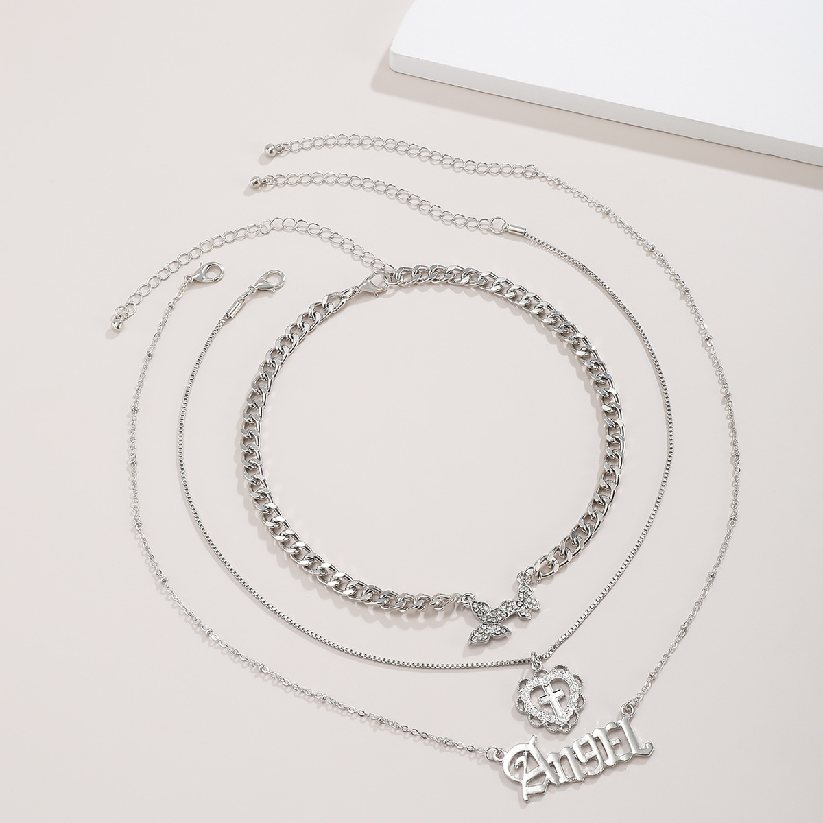 Creative fashion simple multilayer clavicle necklace retro alloy letter set womens necklace  NHXR252643