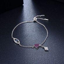 镇和S925银 满钻镶嵌眼睛爱心吊坠可伸缩手链 网红饰品厂家直销