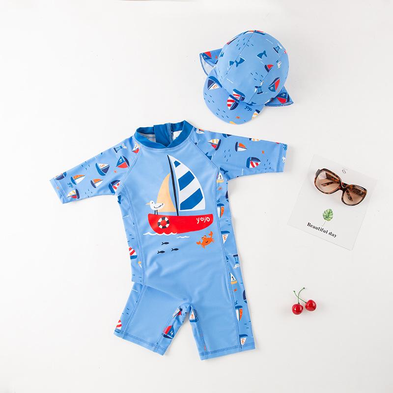儿童泳衣 男童连体泳衣 蓝色长袖帆船带帽款游泳衣 温泉衣