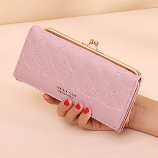 New style wallet ladies long large-capacity clutch bag pure color mobile phone bag long clip card bag fashion ladies coin purse