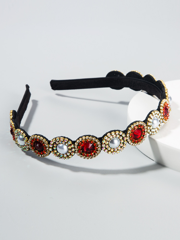 Korean new fashion inlaid pearl glass diamond baroque fine-edged cheap headband wholesale NHLN208134