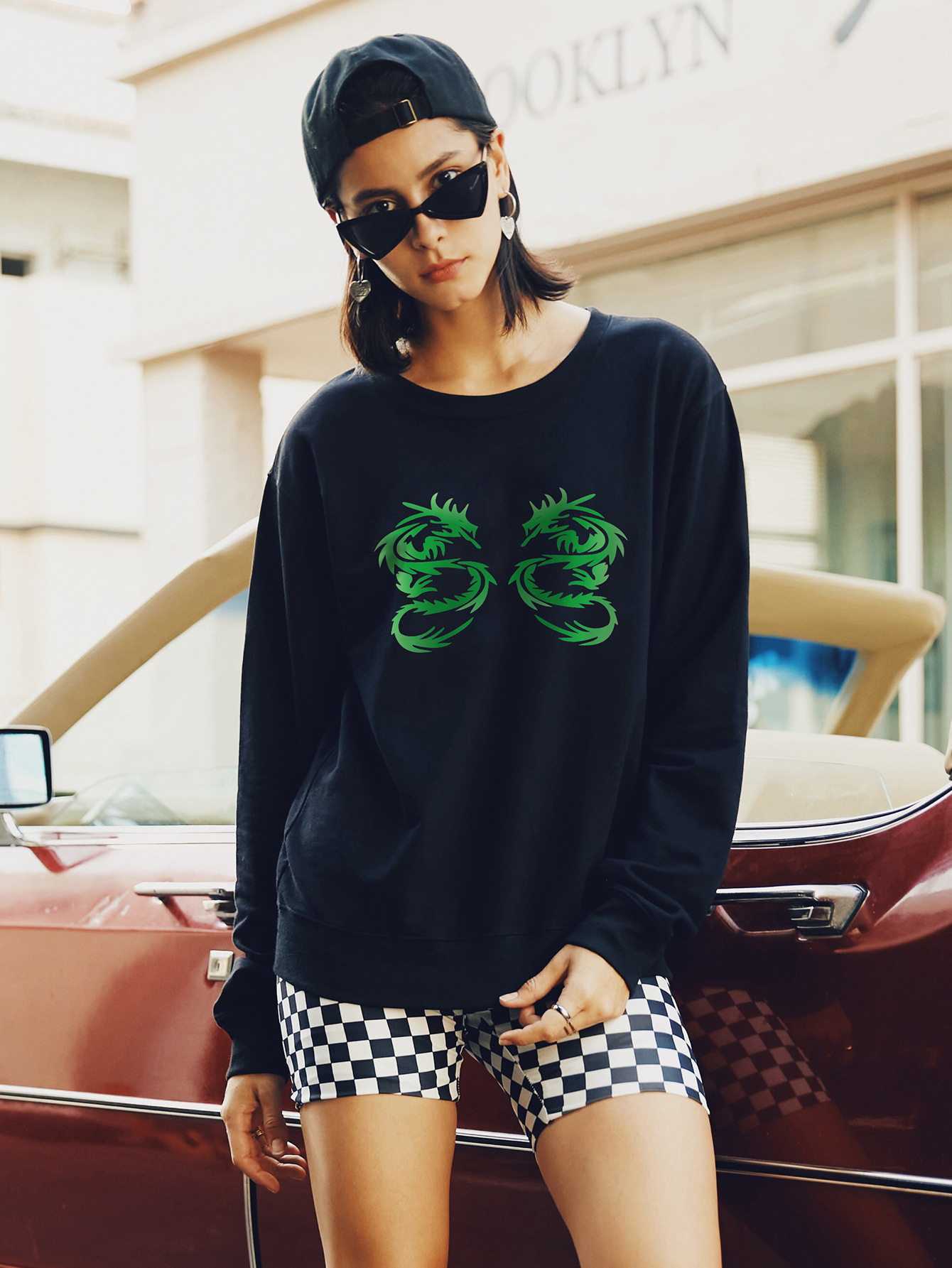 autumn and winter women's round neck long sleeve street casual hoodies NSSN1887