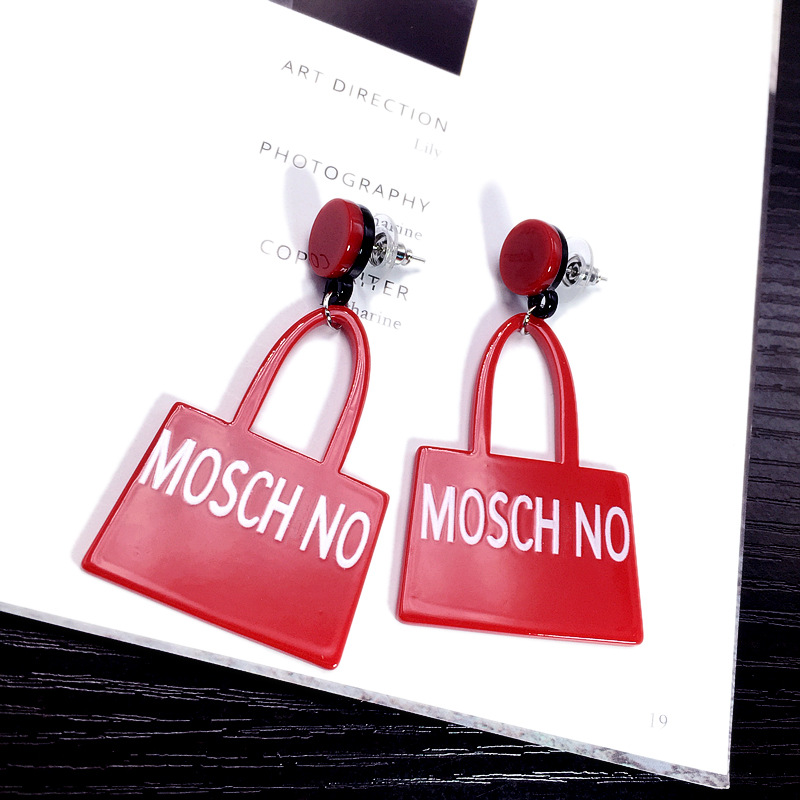 exaggerated British simple earrings ladies show handbags English alphabet earrings wholesale nihaojewelry NHFT235305