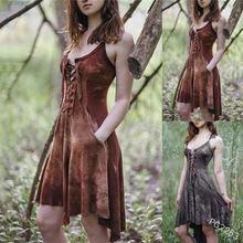 外贸新款绑带性感女式连衣裙复古部落纯色百褶吊带连衣裙方领短裙