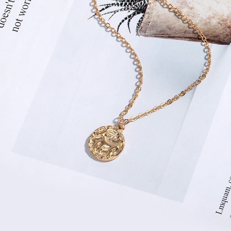 simple new constellation coin gold coin  necklace for women NHAI242870