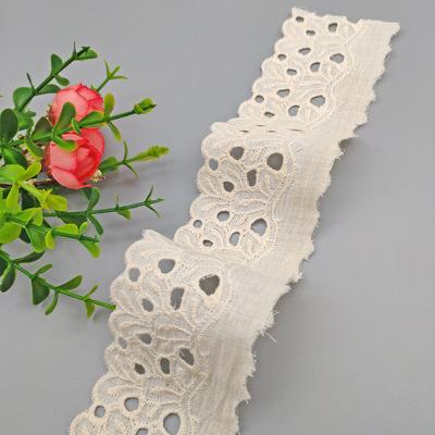 厂家直销5公分本白色棉布花边波浪边打孔刺绣花边芭比娃娃棉花边