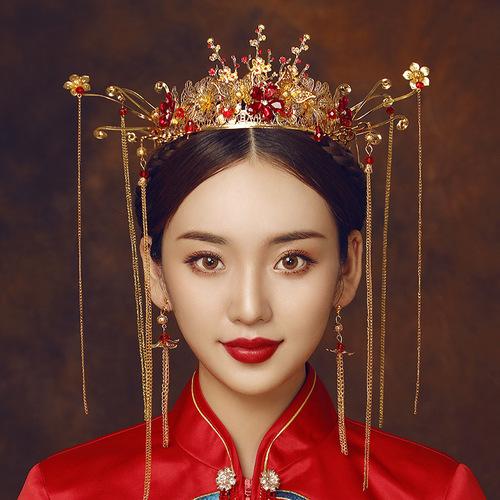Ancient costume Chinese bridal hair accessories Xiuhe clothing Phoenix crown headdress wedding tassel wedding antique hair crown women